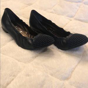 AGL Blakey Studded Toe Ballet Flats NAVY color